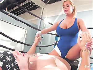 chesty platinum-blonde Shyla Stylez does some xxx training