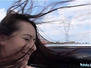 PublicAgent molten ebony haired Russian fucked on a car