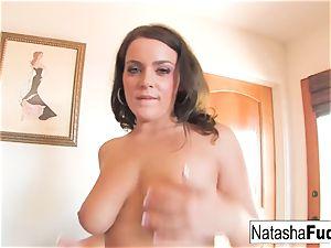 Natasha pokes Her bootie With a Purple fucktoy