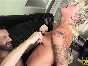 tattooed brit slave Roxy Mae slapped by hotwife