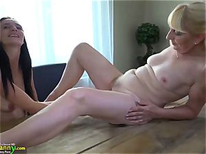 OldNanny dark-haired mature demonstrates her panties