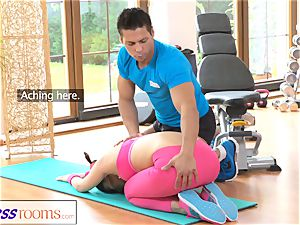 FitnessRooms Gym teacher pulls down her yoga pants