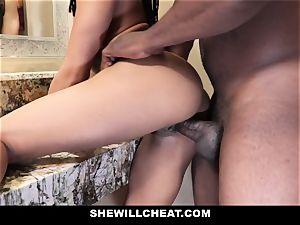 SheWillCheat - hotwife wifey porks big black cock in shower