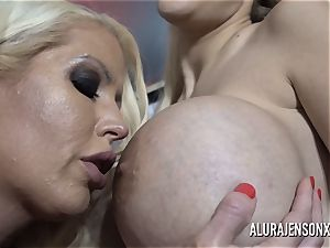 Alura and her buxomy lezzy acquaintance Dolly get ultra-kinky