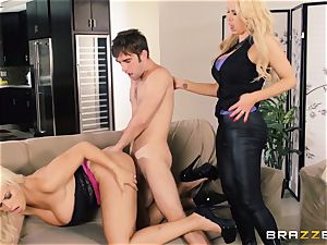 Nikki Benz and Bridgette B get muddy with the security dude