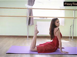 nasty gymnast Inessa in a crimson sundress