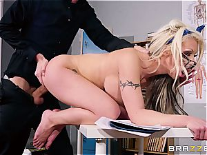 british ditzy Barbie Sins does some additional credit oral exams
