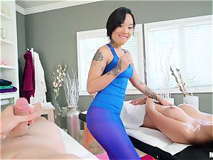 Brenna Sparks and stunner Gold molten massage session