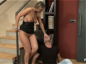 blond honey takes a dicking by facehole gag faux-cock