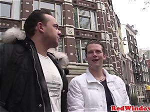 massive boobed Amsterdam hooker gets spunk showered