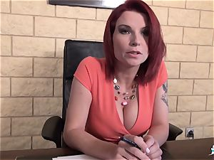 LA COCHONNE - big-chested French babe torn up at interview