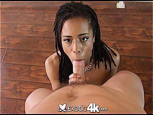 Pettite black nubile Kira Noir takes a wood