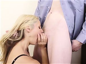 buxom blonde boss Sarah Vandella entices youthful employee