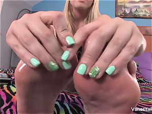 towheaded beauty Vanessa box plays with her soles