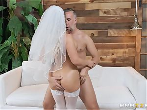 Cali Carter ravaged in her bridal undergarments