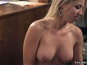 platinum-blonde jaw-dropping banker rectal fisted and pounded