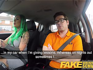 fake Driving school busty learner is moist and naughty