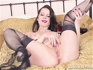 fabulous cougar drains to orgasm in sheer nylons garters