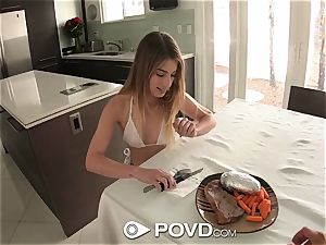 POVD Steak and oral pleasure day for brown-haired Kristen Scott