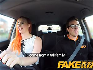 faux Driving school tattooed redhead covets a humungous pipe