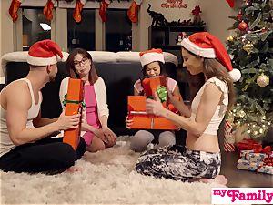 Stepbro's Christmas threeway And sis internal ejaculation S5:E6