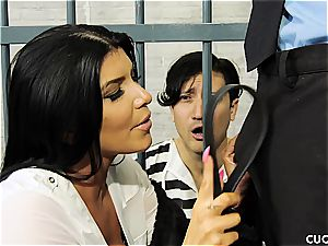 buxomy cougar cuckolds her imprisoned hubby