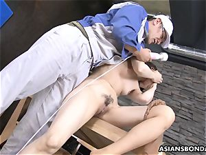 Masturb asian babe with fucktoy and enjoy
