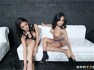 Sophia Leone tonguing out her buddy