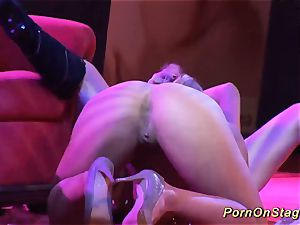 kinky girl-on-girl fuckfest show on public stage