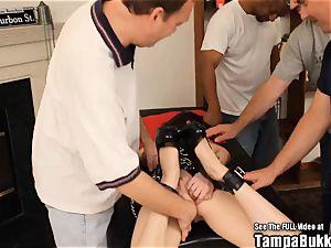 teenager bondage Blindfold gang pound ebony rod